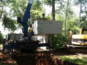Tank being lifted