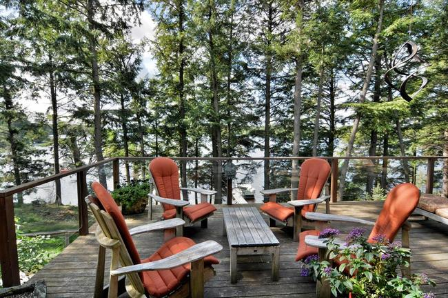 scenic back deck in cable, wi vacation home