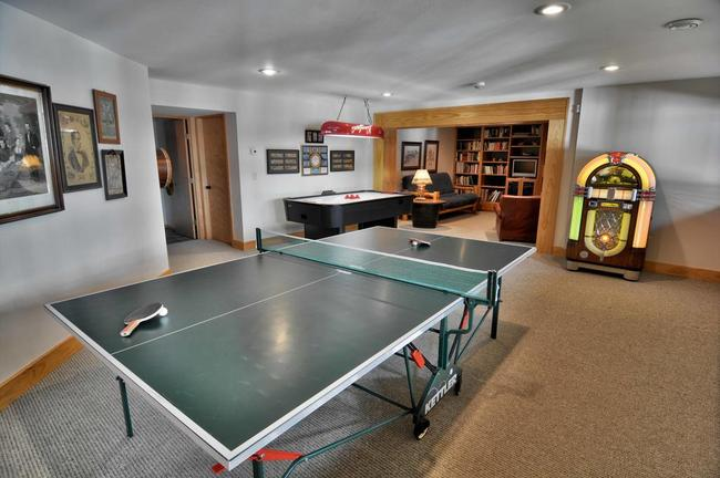 basement recreation room in a vacation home in cable wi