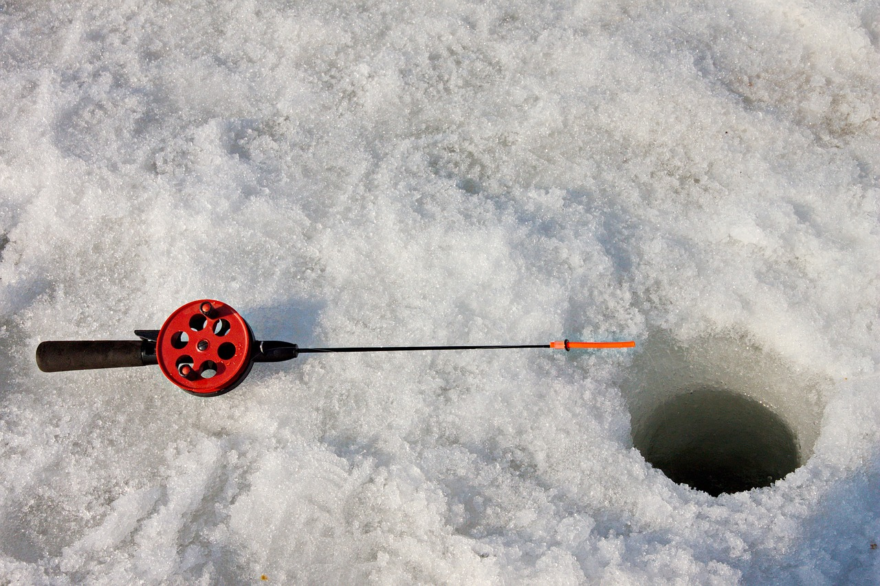 ice fishing is a favorite winter activity in lake namekagon