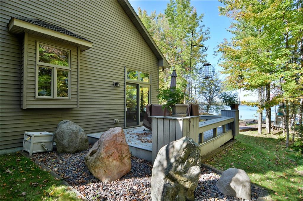 back deck with lake views at 22420 Circle Drive