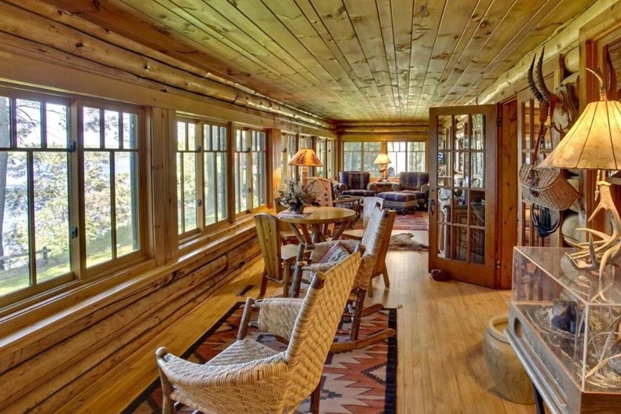 wall of windows in the sunroom of 47585 Chapinwood Road in Cable WI
